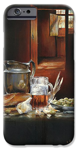 Still Life With Fish iPhone Cases - Still life with olives and fish iPhone Case by Victor Mordasov