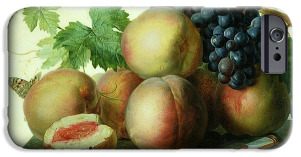 Table Top iPhone Cases - Still Life with Peaches and Grapes on Marble iPhone Case by Jan Frans van Dael
