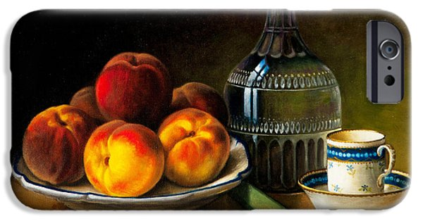 Old Pitcher Paintings iPhone Cases - Still Life With Peaches iPhone Case by Bernadette Harrison