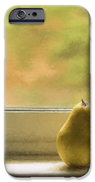 Still Life iPhone Cases - Still Life with Pear iPhone Case by Diane Diederich