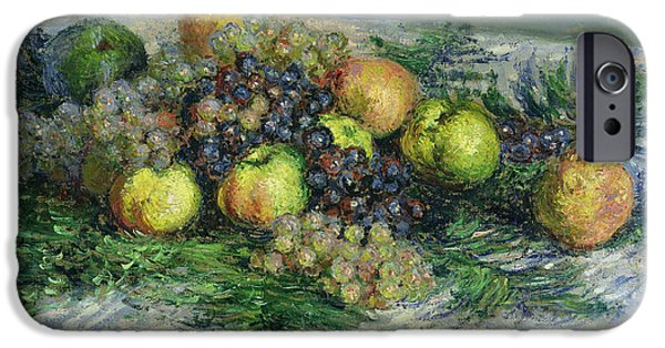 Pear iPhone Cases - Still Life with Pears and Grapes iPhone Case by Claude Monet
