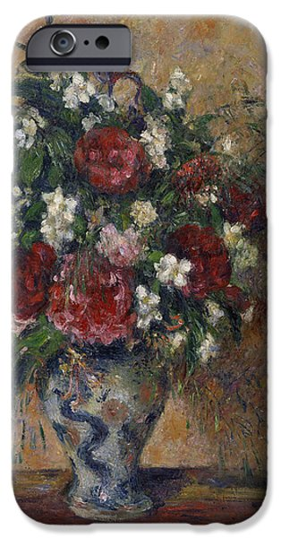 Pissarro iPhone Cases - Still Life with Peonies and Mock Orange iPhone Case by Camille Pissarro