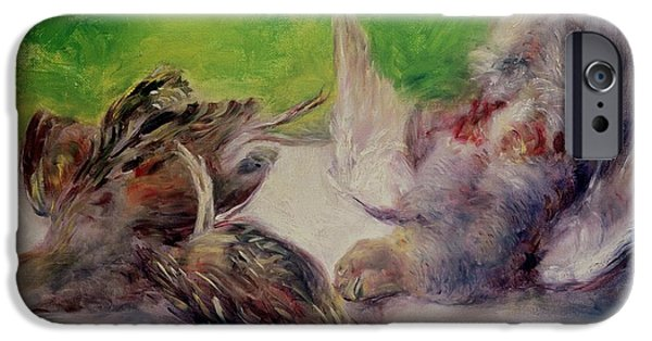 Zoology Paintings iPhone Cases - Still Life with Pheasants  iPhone Case by Pierre Auguste Renoir