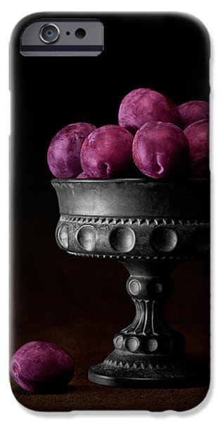 Bowl iPhone Cases - Still Life with Plums iPhone Case by Tom Mc Nemar