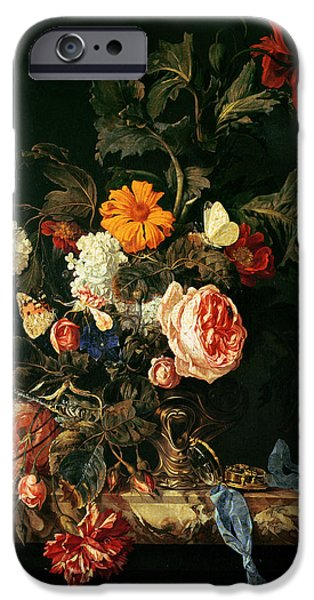 Ledge iPhone Cases - Still Life With Poppies And Roses iPhone Case by Willem van Aelst