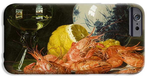 Pare iPhone Cases - Still Life With Prawns And Lemon iPhone Case by Edward Ladell