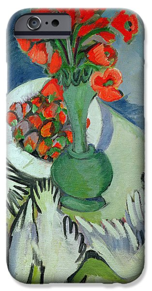 Seagull Paintings iPhone Cases - Still Life with Seagulls Poppies and Strawberries iPhone Case by Ernst Ludwig Kirchner