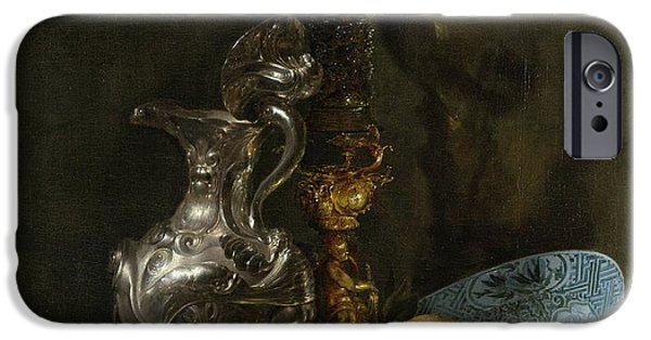 Still Life With Old Pitcher iPhone Cases - Still life with silver pitcher iPhone Case by Willem Kalf