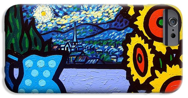Wine Canvas Paintings iPhone Cases - Still Life With Starry Night iPhone Case by John  Nolan
