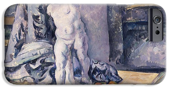 Plaster iPhone Cases - Still Life with Statuette iPhone Case by Paul Cezanne