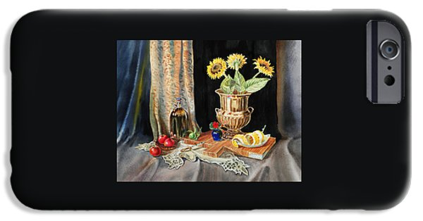 Lemon iPhone Cases - Still Life With Sunflowers Lemon Apples And Geranium  iPhone Case by Irina Sztukowski