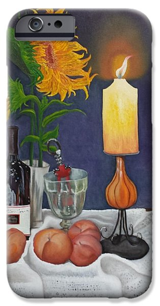 Wine Bottles iPhone Cases - Still Life with Sunflowers iPhone Case by Sunny  Kim