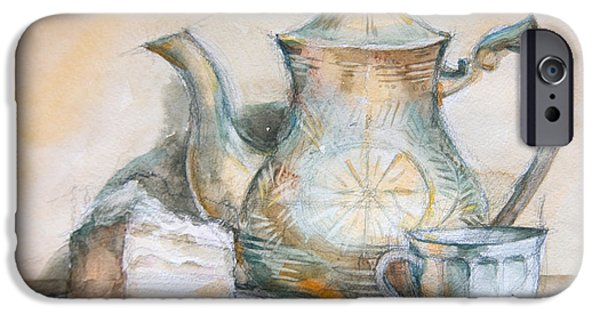 Tea Party iPhone Cases - Still Life With Tea And Piece Of Cake iPhone Case by Olesya Tarasova