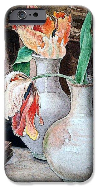 Still Life iPhone Cases - Still Life With Tulips iPhone Case by Irina Sztukowski