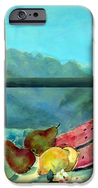 Pears iPhone Cases - Still Life With Watermelon Oil & Acrylic On Canvas iPhone Case by Marisa Leon