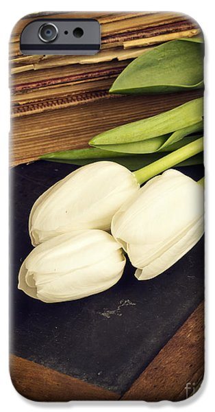 Memories iPhone Cases - Still life with white tulips old books school slate iPhone Case by Edward Fielding