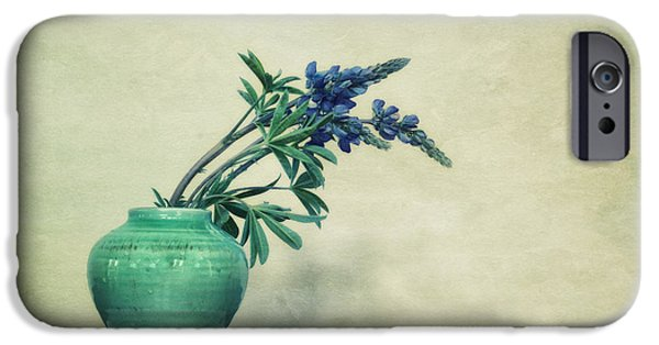 Vessel iPhone Cases - Still life with Yukon Lupines iPhone Case by Priska Wettstein
