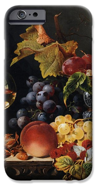 Pare iPhone Cases - Still Life With Wine Glass And Silver Tazz iPhone Case by Edward Ladell