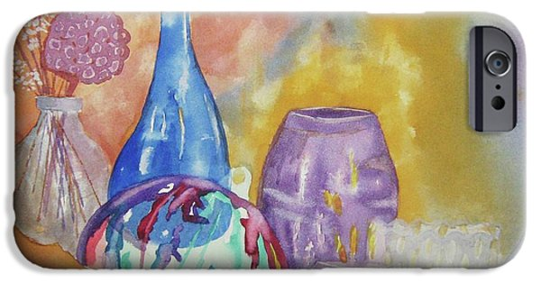 Wine Bottles iPhone Cases - Still Life with Witching Ball iPhone Case by Ellen Levinson