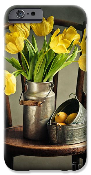Milk iPhone Cases - Still Life with Yellow Tulips iPhone Case by Nailia Schwarz