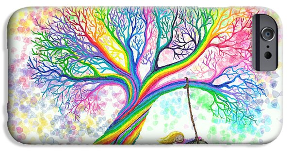 Child Digital iPhone Cases - Still MOre Rainbow Tree Dreams iPhone Case by Nick Gustafson