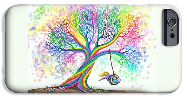 Playful Digital iPhone Cases - Still MOre Rainbow Tree Dreams iPhone Case by Nick Gustafson