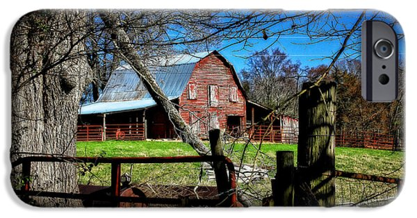 Old Fence Posts iPhone Cases - Still Useful Rustic Red Barn Oconee County iPhone Case by Reid Callaway