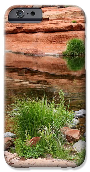 Sedona iPhone Cases - Still Waters at Slide Rock iPhone Case by Carol Groenen