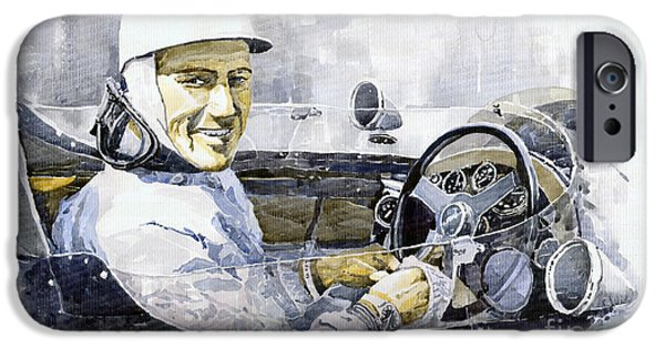 Racing iPhone Cases - Stirling Moss iPhone Case by Yuriy  Shevchuk