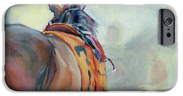 Race Horse Paintings iPhone Cases - Stirrup iPhone Case by Kimberly Santini