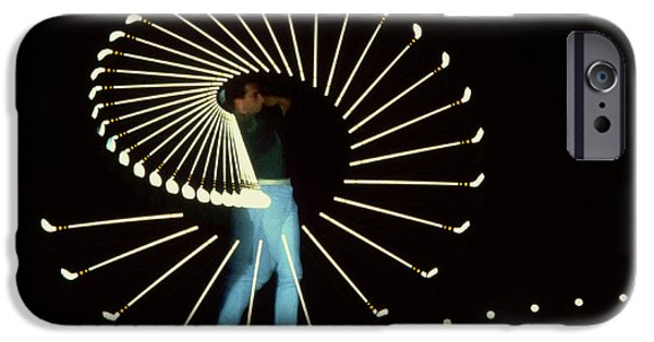 High Speed Photography iPhone Cases - Stroboscopic golf Swing iPhone Case by Michel Hans Vandystadt