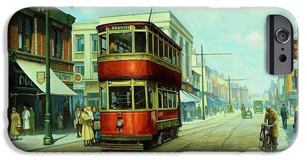 Tram iPhone Cases - Stockport tram. iPhone Case by Mike  Jeffries