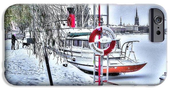 Swiss Pyrography iPhone Cases - Stokholm Swiss Winter iPhone Case by Yury Bashkin