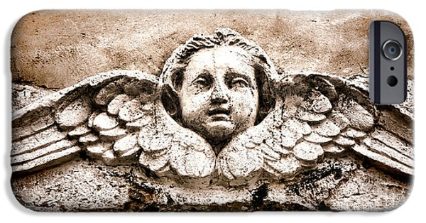 Stone Carving iPhone Cases - Stone Angel iPhone Case by Olivier Le Queinec