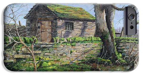 Peak iPhone Cases - Stone Barn, Alport, Derbyshire, 2009 Oil On Canvas iPhone Case by Trevor Neal