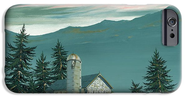 Stone Paintings iPhone Cases - Stone Barn iPhone Case by John Wyckoff