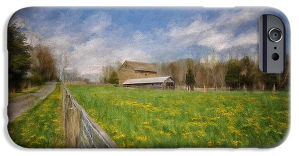 Farm iPhone Cases - Stone Barn On A Spring Morning iPhone Case by Lois Bryan