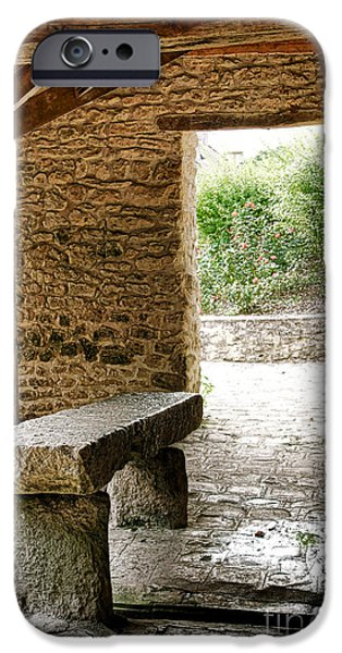 Gathering Photographs iPhone Cases - Stone Bench iPhone Case by Olivier Le Queinec