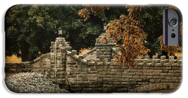 Fall Scenes iPhone Cases - Stone Bridge in Autumn iPhone Case by Jai Johnson