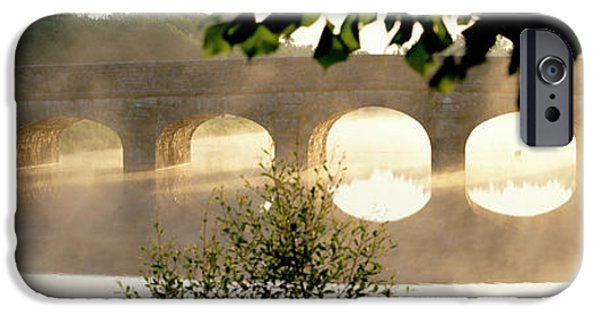 Eerie iPhone Cases - Stone Bridge In Fog, Loire Valley iPhone Case by Panoramic Images