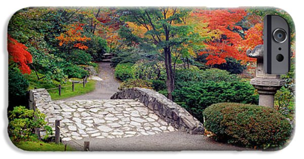 Pathway iPhone Cases - Stone Bridge, The Japanese Garden iPhone Case by Panoramic Images