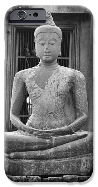 Buddhist iPhone Cases - Stone Buddha iPhone Case by Adam Romanowicz
