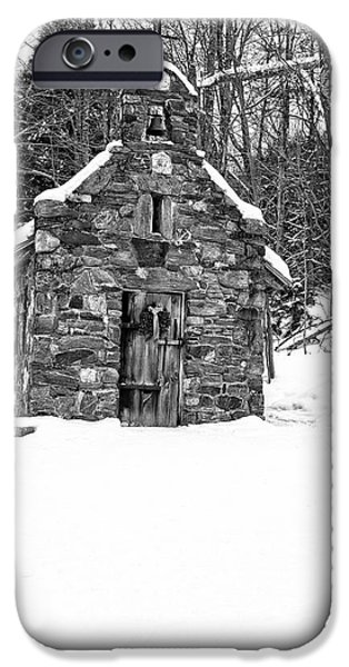Chapels iPhone Cases - Stone Chapel in the Woods Black and White iPhone Case by Edward Fielding