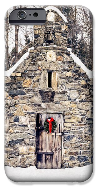 Wreath iPhone Cases - Stone Chapel in the Woods Trapp Family Lodge Stowe Vermont iPhone Case by Edward Fielding
