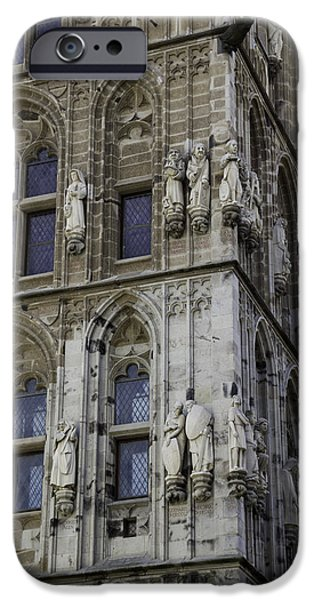 Dining Hall iPhone Cases - Stone Figures on City Hall Cologne Germany iPhone Case by Teresa Mucha