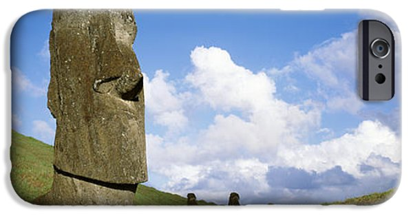 Megalith iPhone Cases - Stone Heads, Easter Islands, Chile iPhone Case by Panoramic Images
