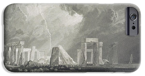 Rocks Drawings iPhone Cases - Stone Henge iPhone Case by Joseph Mallord William Turner
