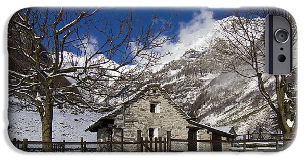Small Pyrography iPhone Cases - Stone house iPhone Case by Maurizio Bacciarini
