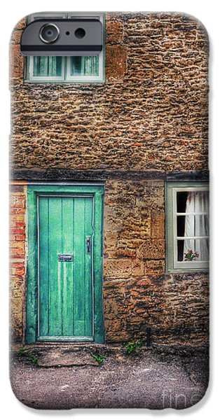 Charming Cottage iPhone Cases - Stone House with Green Door iPhone Case by Jill Battaglia