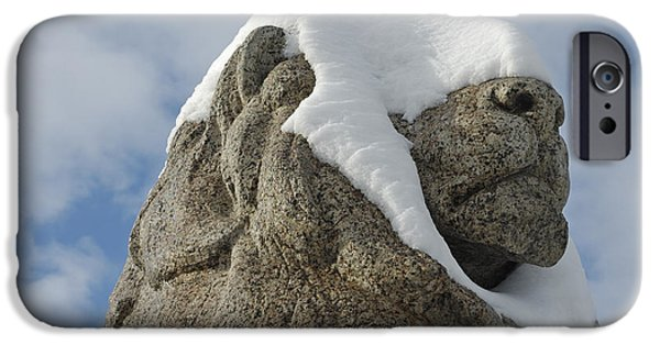 Statue Portrait iPhone Cases - Stone lion covered with snow iPhone Case by Matthias Hauser